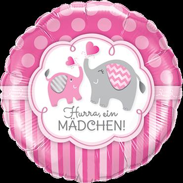 """Hurra ein Mädchen"" Elefanten runder Folienballon"