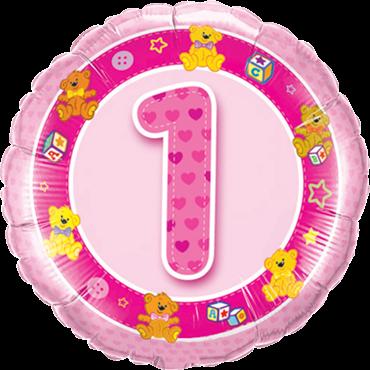 Alter 1 Pink Teddies Folienballon