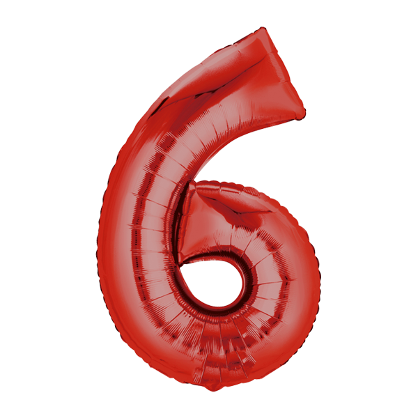 Zahlenballon XXL rot 6