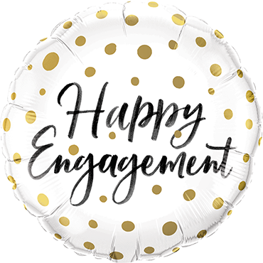 """Happy Engagement"" Gold Dots Folienballon"