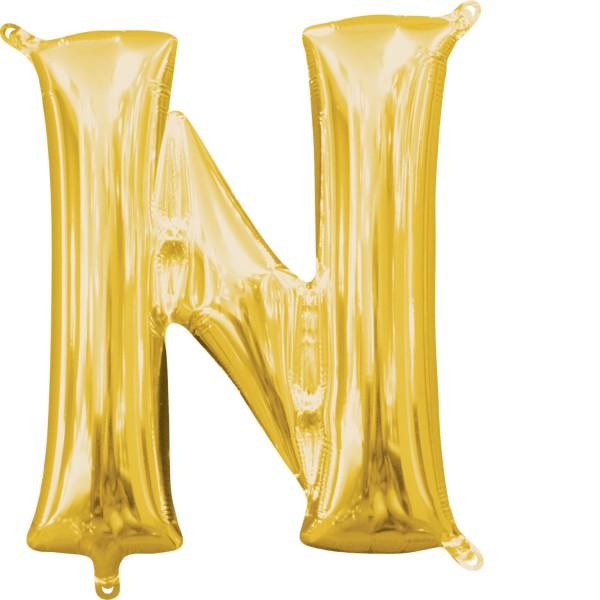 "Buchstabe ""N"" Gold Folienballon"