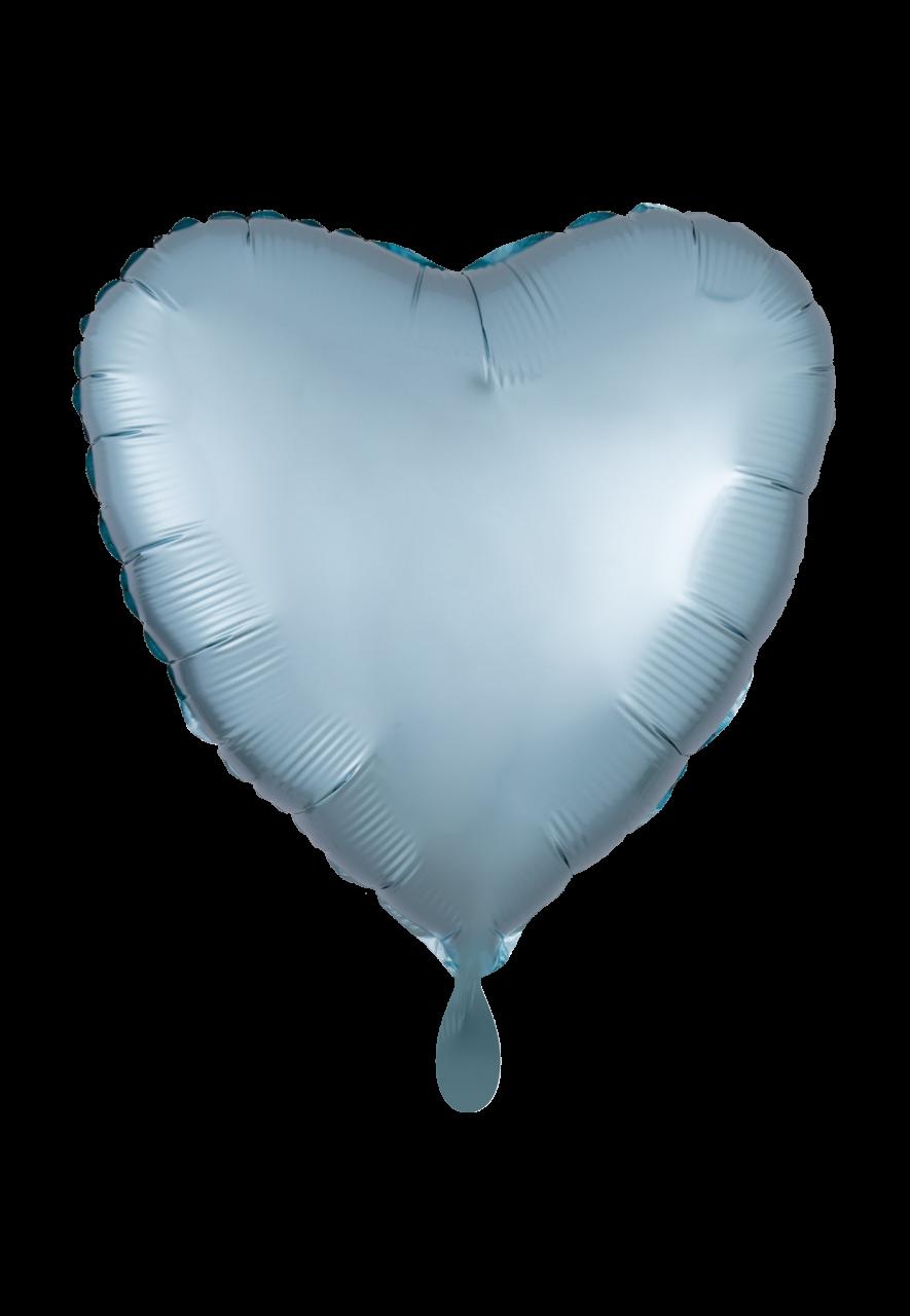 Herz Satin Pastel Blau Folienballon