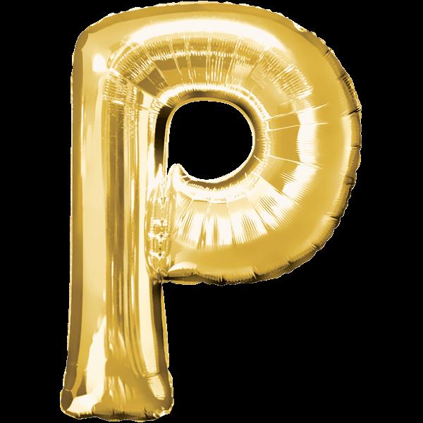 "Buchstabe ""P"" Gold Folienballon"