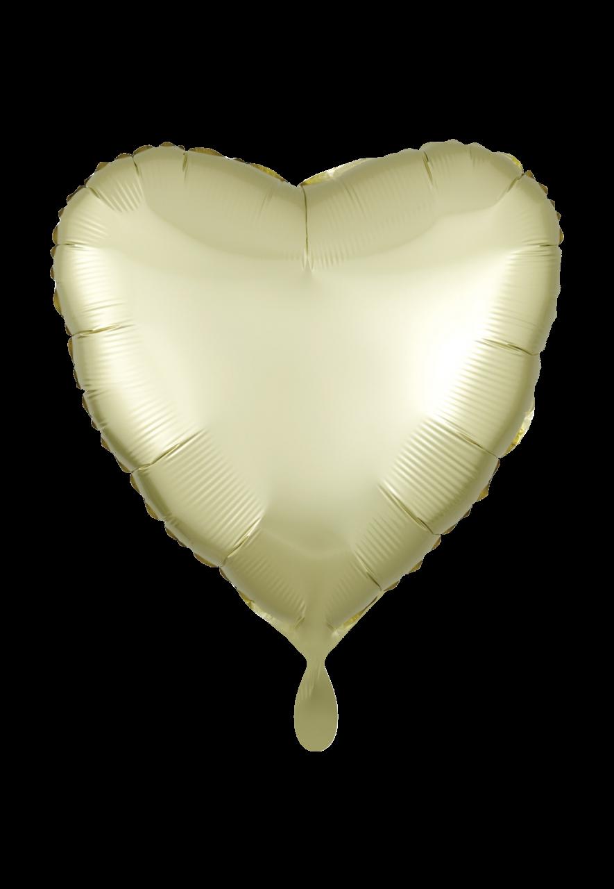 Herz Satin Pastel Gelb Folienballon