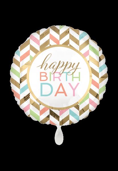 """Pastell Feier """"Happy Birthday"""" Folienballon"""