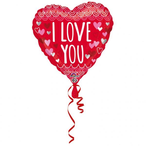 """""""I Love You - Muschelrand"""" herzförmig Folienballon"""
