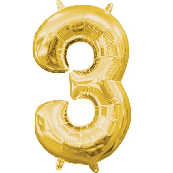 Zahl 3 Gold Folienballon