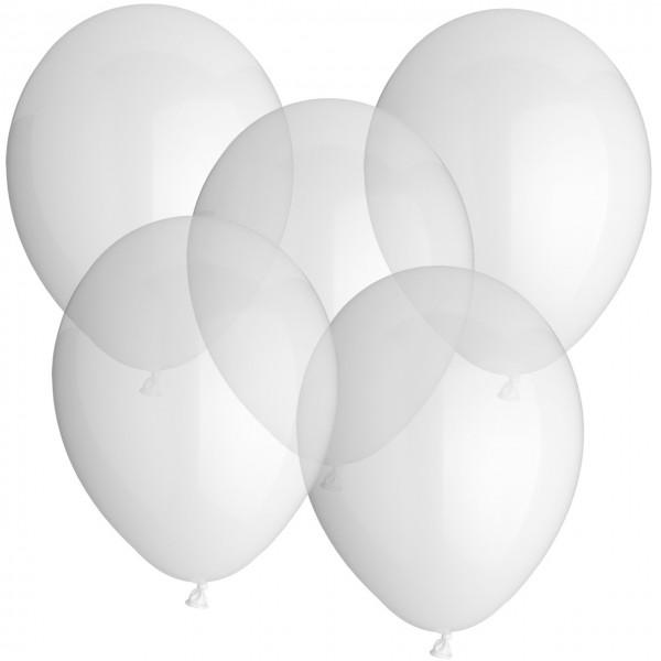 100 Luftballons aus Latex - klar - Ø 30 cm - rund