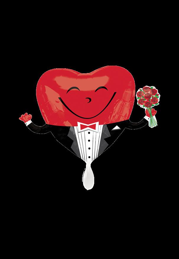 Smiley Heart Guy Folienballon