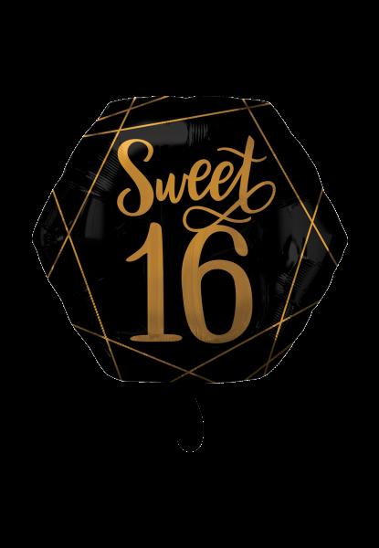 Schwarz-Gold Sweet Sixteen Folienballon