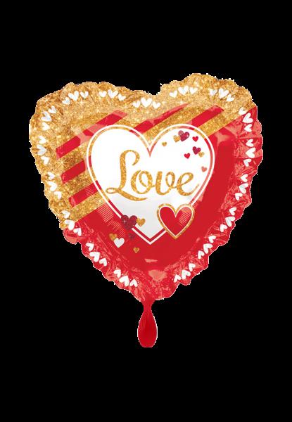 Rot und Gold herzförmig Liebe Folienballon