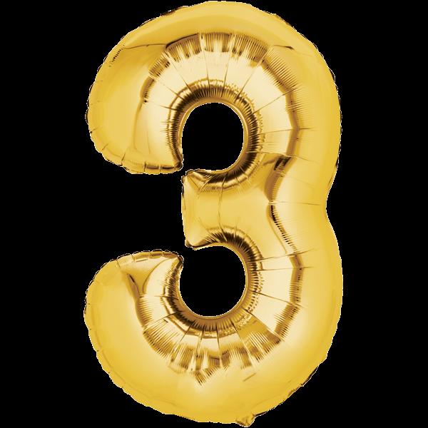 Zahlenballon XXL Gold 3