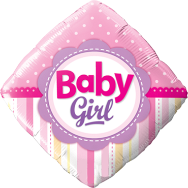 Baby Girl Dots and Stripes Folienballon Diamant