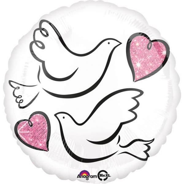 """Wedding - Lovebirds"" runder Folienballon"
