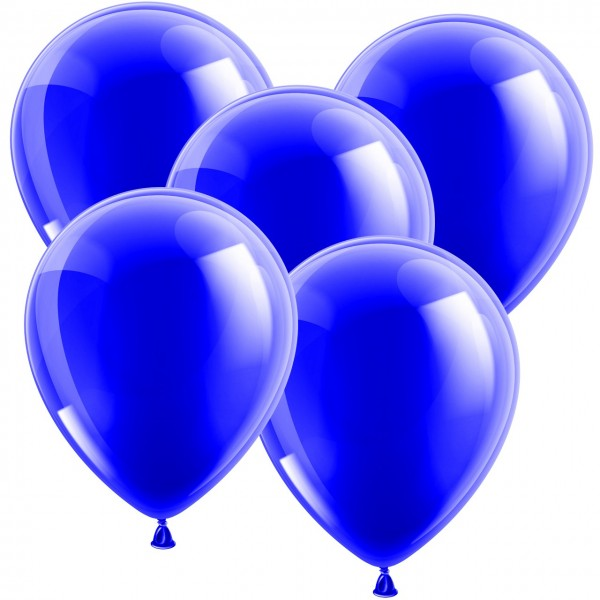 100 Luftballons aus Latex - Metallic Blau 30cm - Rund