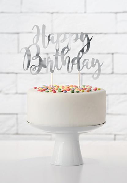 Cake Topper - Happy Birthday - Silber