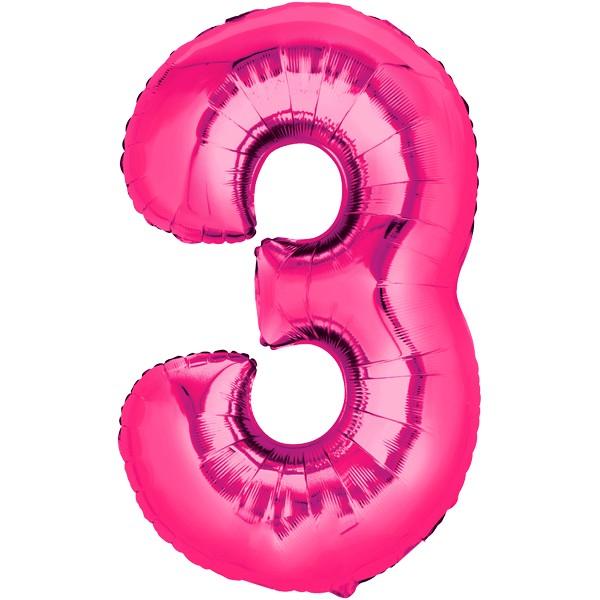 Zahlenballon XXL Pink 3