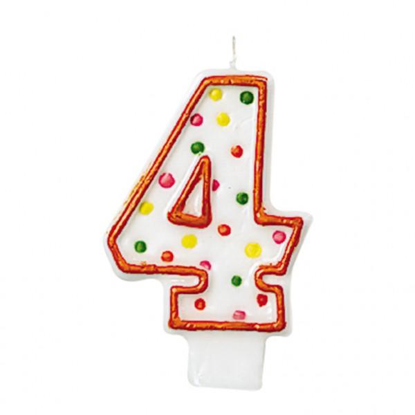 Zahlenkerze 4 polka dots