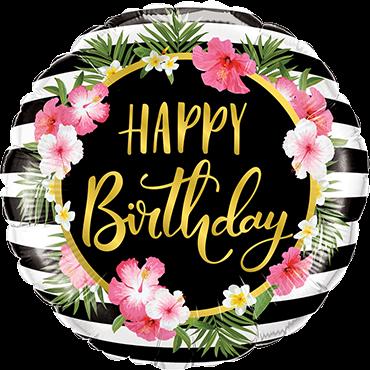 Geburtstags-Hibiskus-Streifen-Folienballon