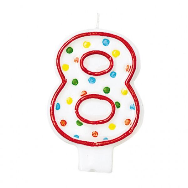 Zahlenkerze 8 polka dots