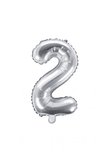 Zahlenballon XS Silber 2
