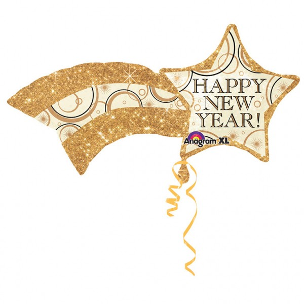 Happy New Year Komet gold Folienballon