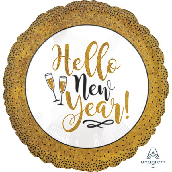 "Holographic ""Hello New Year"" Gold glitzernder Folienballon"