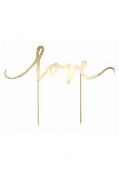 Cake Topper - Love - Gold