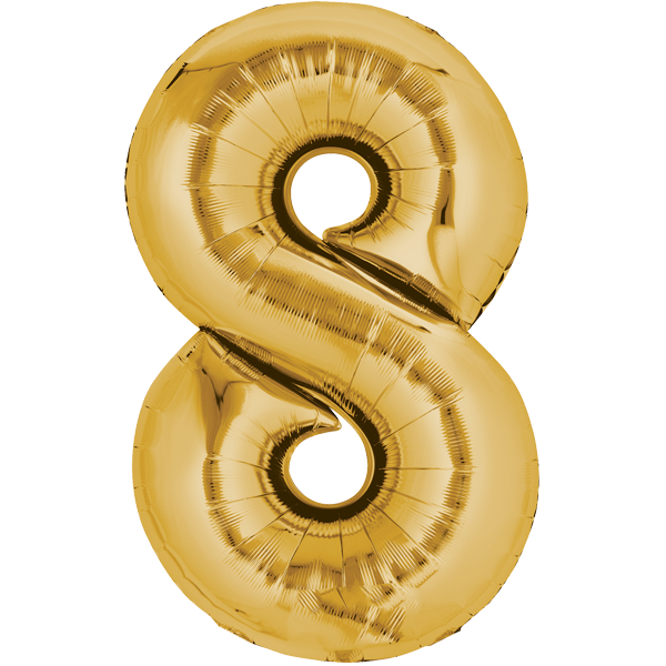 Zahlenballon XXL Gold 8