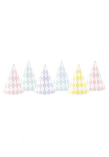 6 Partyhüte - Pastell Mix