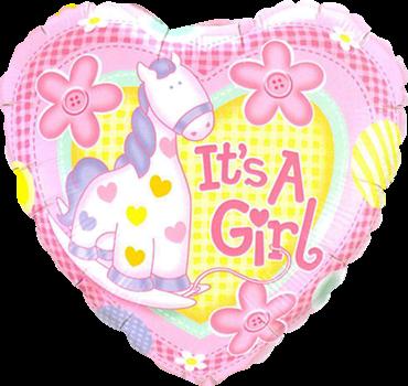 """""""It's A Girl"""" Weiches Pony-Folienballon herzförmig"""