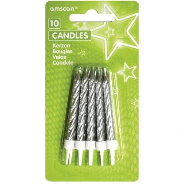 Spiralkerzen mit Kerzenhaltern silber