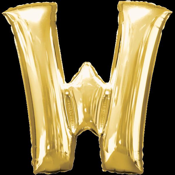 "Buchstabe ""W"" Goldf Folienballon"