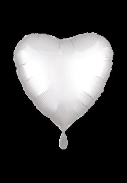 Satin Luxe Herz Weiß Folienballon