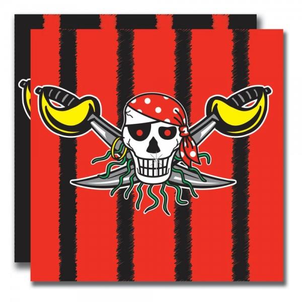 Rote Piratenservietten - 20 Stück