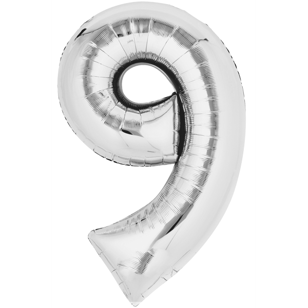 Zahlenballon XXL Silber 9