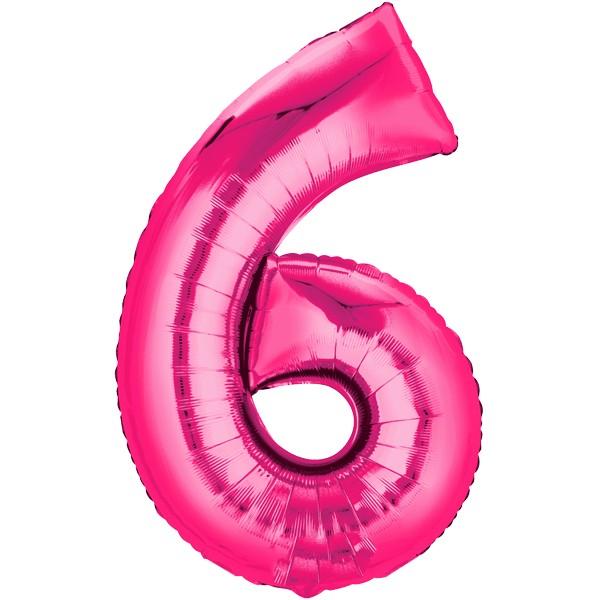 Zahlenballon XXL Pink 6