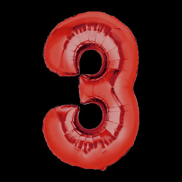 Zahlenballon XXL Rot 3