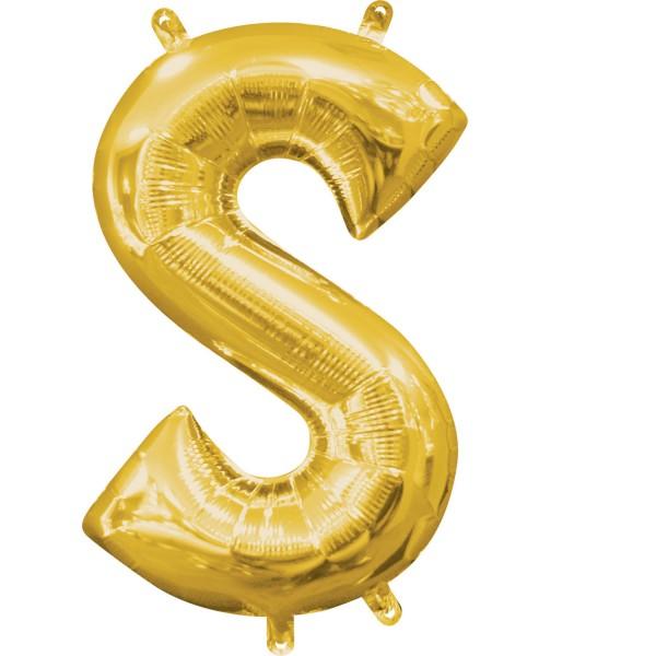 "Buchstabe ""S"" Gold Folienballon"