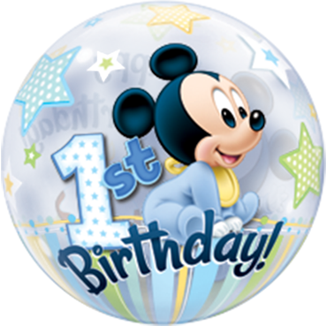 Mickey Mouse 1. Geburtstag Single Bubble