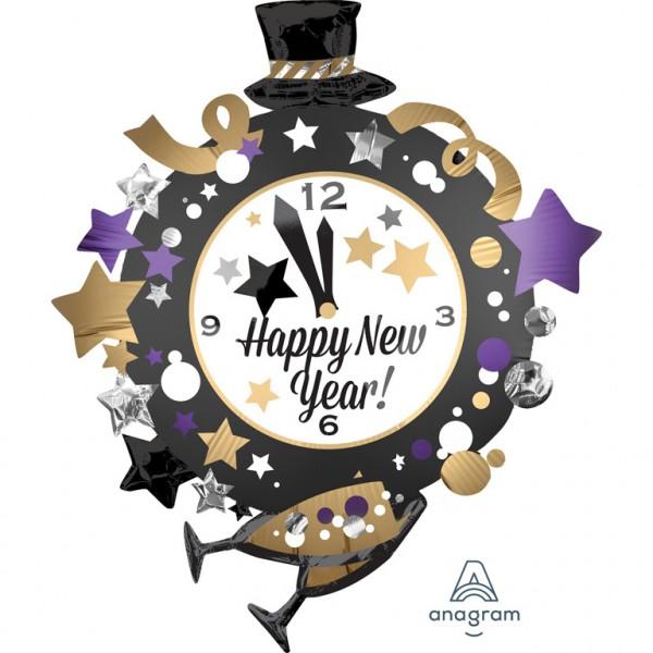 Neujahrs-Uhr Folienballon