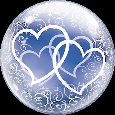 verschlungene Herzen Deko Bubble Folienballon