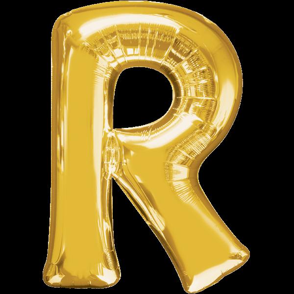 Buchstabenballon Gold XXL R