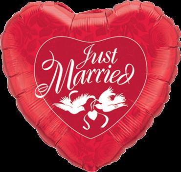 Just Married rotes und weißes Folien-Herz Folienballon