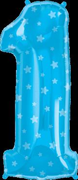 Zahlenballon XXL blau 1 mit Sternmuster