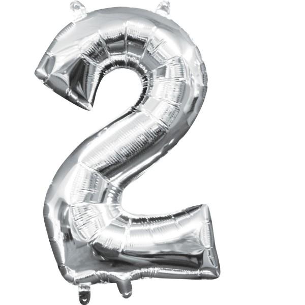 Zahl 2 silber Folienballon