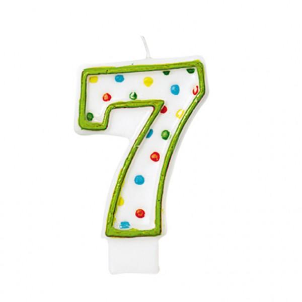 Zahlenkerze 7 Gepunktet