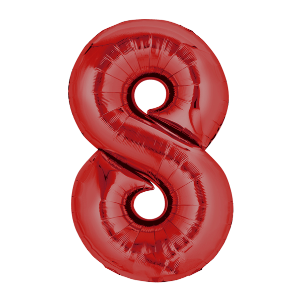 Zahlenballon XXL rot 8