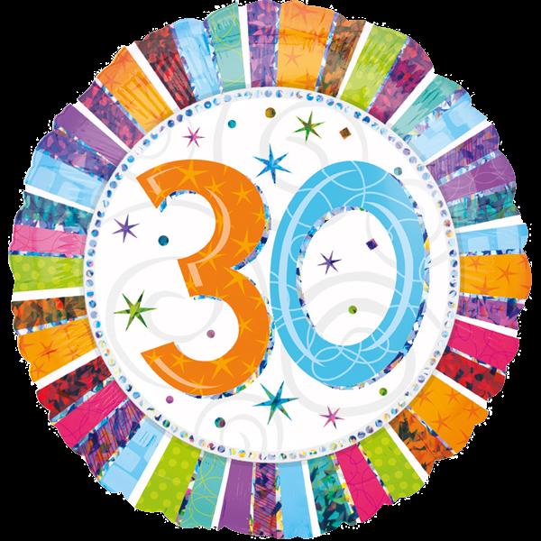 Zahlenballon rund-30-holographic