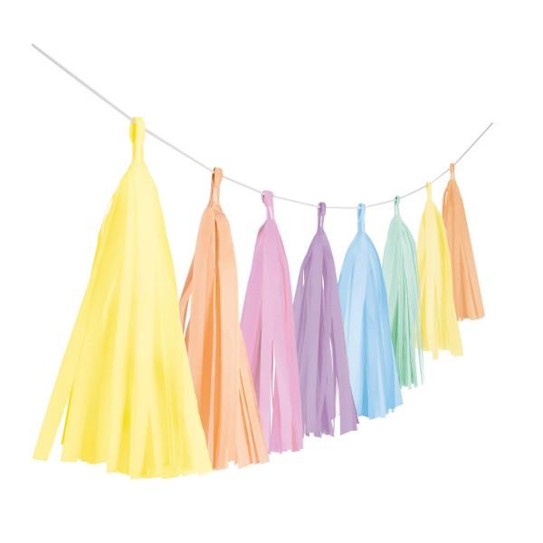 Girlande Fransen Pastel Rainbow Papier